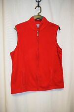Womens Vest Size L By Laura Scott Red Sleeveless Zipper Front Pockets