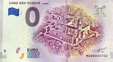BILLET 0 EURO CABO SAO VICENTE SAGRES PORTUGAL  2019-2  NUMERO  DIVERS