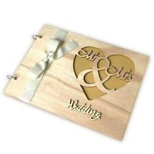 Personalized Guest Book Wooden Wedding Mr & Mrs Guestbooks Signature Message For