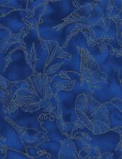 Fat Quarter Glory Birds Toile Blue Metallic 100% Cotton Quilting Fabric