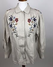 Women's Floral Button Up Top Long Sleeve 100% Linen Beige Blouse Embroidered