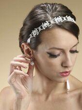 Alesha Vintage Swarovski Crystal Wedding Bridal Ribbon Headband or Belt - Ivory