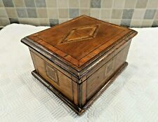 EDWARDIAN INLAID SOLID MAHOGANY BOX WITH ORIGINAL PADDED VELVET LINED INTERIOR