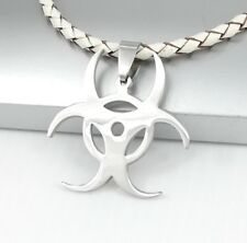 Silver Biohazard Poison Symbol Pendant White Braided Leather Surfer Necklace