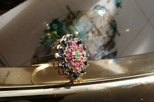 9ct yellow gold sapphire ruby and emerald scattered cluster ring