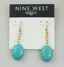 Nine West Turquoise Gold Tone Drop Earrings NWT