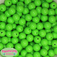 14mm Lime Green Acrylic Solid Bubblegum Beads Lot 20 pc.chunky gumball