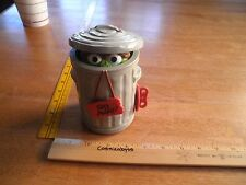 "Oscar the Grouch in trash can Illco wind-up toy 6"" Muppets"