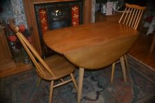Retro Vintage Ercol Light Elm Drop Leaf Dining Table and 2 Goldsmith Chairs