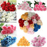 US 10Pcs Valentine's Day Artificial Fake Roses Latex Flower Wedding Home Decor
