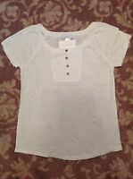 LIZWEAR womens button neck shirt WHITE embroidered top ~ SMALL