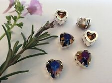 3 swarovski vintage heart sew on 11x10mm sapphire brandy #4800 craft
