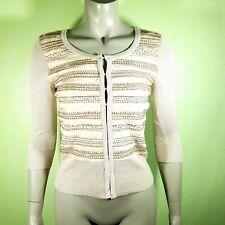 White House Black Market NWT Women's Size XS 3/4 Sleeve Glitter Beaded Cardigan