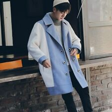 Men Coat Jacket Lapel Collar Casual Korean Double Breasted Loose Mid Long Joint