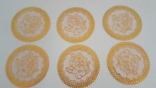 6 GOLD LACE EFFECT PVC Hot Drink Coasters SET PLACEMAT Coffee Tea CUP Mug MATS