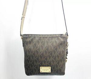 Michael Kors Brown Signature Leather Crossbody Hand Bag Purse Adjustable Strap