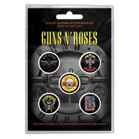 Official Merch 5-BADGE PACK Metal Button Pin Badges GUNS N' ROSES Bullet Logo