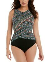 $285 Miraclesuit Womens Black Swimwear Printed V-Neck One-Piece Swimsuit Size 10