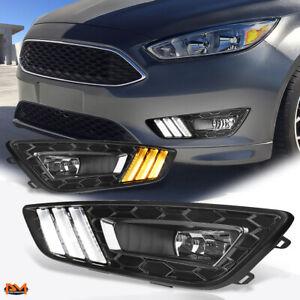 For 15-17 Ford Focus Clear Lens Bumper Fog Light/Lamp+Black LED DRL Bezel Pair