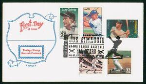 MayfairStamps US FDC Unsealed 2012 Baseball All-Stars Combo Souvenir Postmark Ar