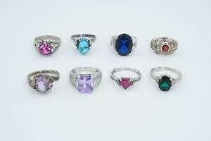 LOT of 8 Sterling Silver Colored Gems & Glass with CZ Accent Rings, 33.9g