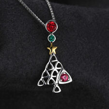 Beautiful Ruby & Emerald Tree Pendant Necklace Solid Sterling Silver Gold Star