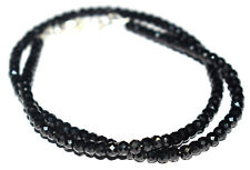 "Black Spinel Gemstone 4 mm Round Beads 925 Sterling Silver 20"" Strand Necklaces"