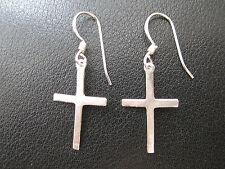 Kreuz 925'er Silber Ohrringe Ohrhänger Paar      / KA 766 o
