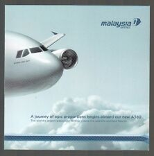 MALAYSIA AIRLINES AIRBUS A380 BROCHURE WITH CABIN PICTURES