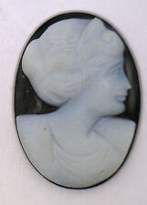 NOS New Antique Large Oval Black & White Cameo Stone  Facing Right #J139