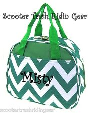 Personalized Green white Chevron Zig Zag lunch bag cooler monogrammed NEW NWT