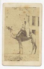 BLACK MAN RIDING A CAMEL, PHOTOGRAPHER: M. HAMMERSCHMIDT, MIDDLE EAST CDV PHOTO