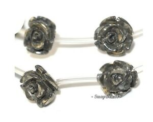 """10MM PALAZZO IRON PYRITE GEMSTONE CARVED ROSE FLOWER FLORA LOOSE BEADS 15.5"""""""