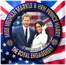 PRINCE HARRY~MEGHAN MARKLE PIN BACK BUTTON~ ROYAL ENGAGEMENT SOUVENIR ~2.2""