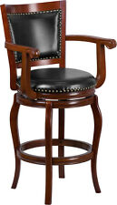 30'' High Cherry Wood Finish Barstool with Black Leathersoft Swivel Seat