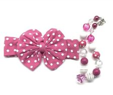 Girl's Chunky Bubblegum Necklace Jewelry Headband Toddler Baby Gift Set Hot Pink