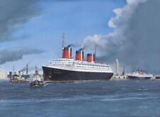 """SS Normandie French Line CGT Ocean Liner Le Havre Painting Art Print - 14"""" Print"""