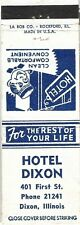 Hotel Dixon, Dixon, Illinois Matchbook