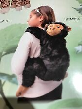 "BLACK Chimp Backpack Kiwi Chimpanzee Monkey 19"" Stuffed Plush Animal UP1875MKBK"