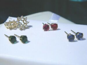 14K Gold 3 Stud Earrings Sets with Jacket