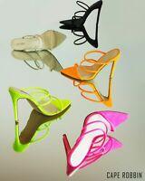 Cape Robbin Encore Lime Neon Strappy Pumps Dainty Single Sole Mule Sandals