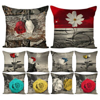 EE_ 45x45cm Art Rose Flower Throw Pillow Case Cushion Cover Home Car Sofa Decor