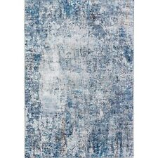 Large Rug Runner Blue Distressed Abstract Modern Carpet Mat 5 Sizes