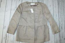 Women's NWT Banana Republic brown-beige linen-silk summer peplum jacket-14