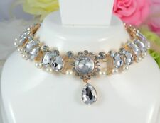 GOLD TONE FAUX PEARL  FACETED ACRYLIC CRYSTAL TEAR DROP CHOKER NECKLACE