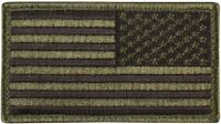 Olive Drab USA American Reverse Flag Patch with Hook & Loop