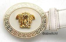 Authentic VERSACE Medusa Head Medallion Leather Mens Designer Belt Gold White