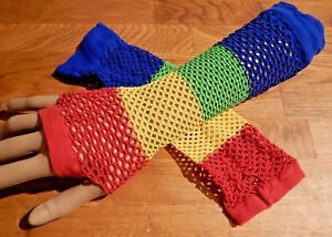RAINBOW FISHNET ARM WARMERS raver costume pride lgbt cyber fingerless gloves 5V