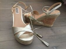 Badgley Mischka Gold Cece Leather Platform Espadrille Sandals Wedges, Size 6