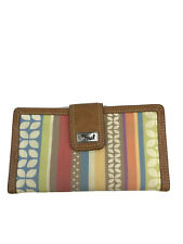 Fossil Women's Brown Multi-Color Canvas/Leather Trim Snap Close Wallet